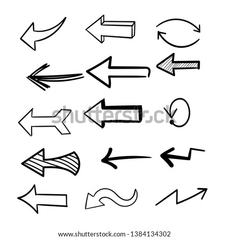 Arrows set. Handmade style. Vector illustration.
