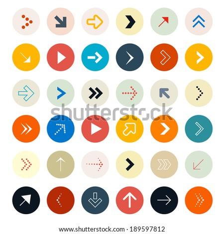 Arrows Set in Circles - Vector Illustration
