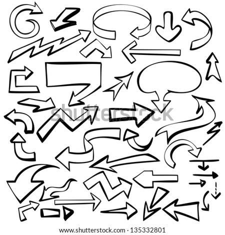 arrows set  sketch hand drawn vector llustration
