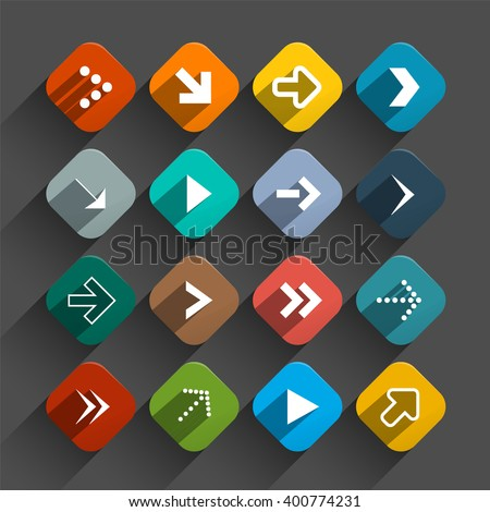Arrows Set - Vector App Icons - Rounded Squares Vector Colorful Flat Design Buttons