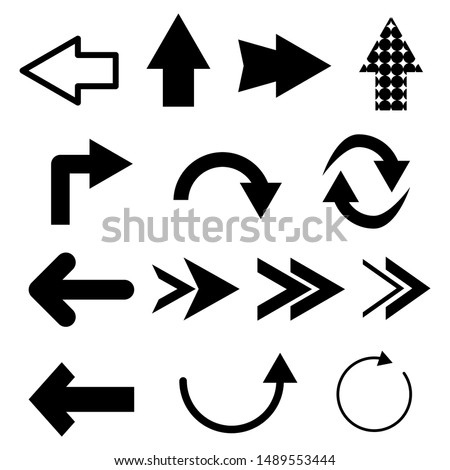 arrows set with different style isolated on white background. vector illustration