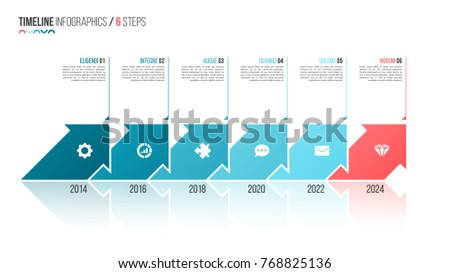 Arrows shaped timeline infographic template. 6 steps, options, processes. Vector illustration.
