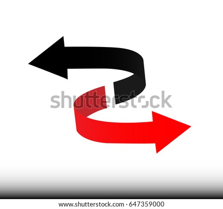 Arrows Sign. Red and Black Color. Isolated On White - Illustration Circle, Environment, Recycling, Shape, Web Page #647359000