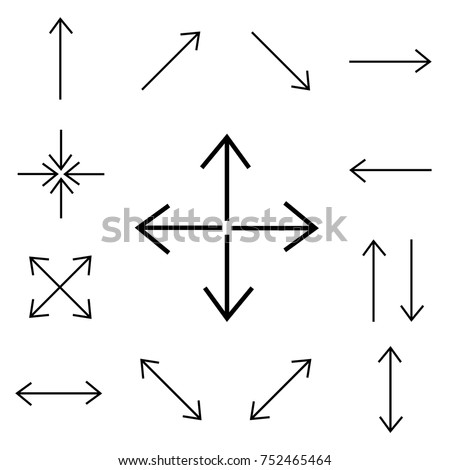 Arrows  Thin vector line set