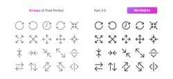 Arrows UI Pixel Perfect Well-crafted Vector Thin Line And Solid Icons 30 3x Grid for Web Graphics and Apps. Simple Minimal Pictogram Part 3-5