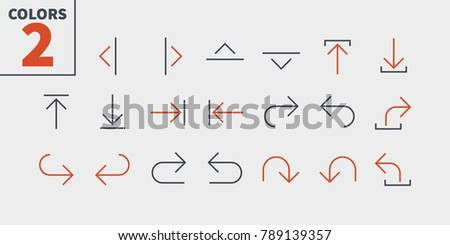 Arrows UI Pixel Perfect Well-crafted Vector Thin Line Icons 48x48 Ready for 24x24 Grid for Web Graphics and Apps with Editable Stroke. Simple Minimal Pictogram Part 4-5