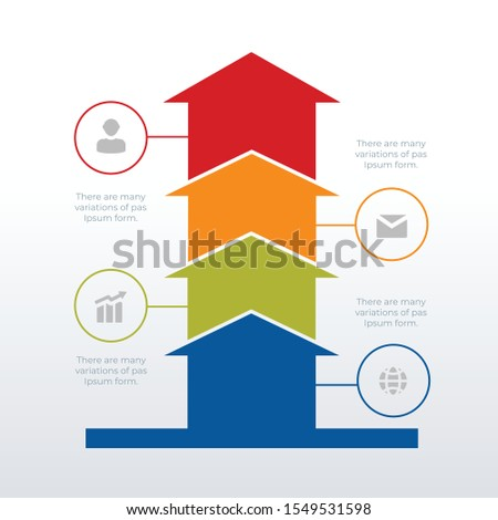 Arrows up processed timeline infographic template design. Business concept info graph with 4 options, steps or processes. Vector visualization can be used for workflow layout, diagram, report, web