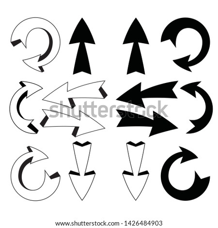 Arrows vector collection black. Collection arrow silhouette on white background