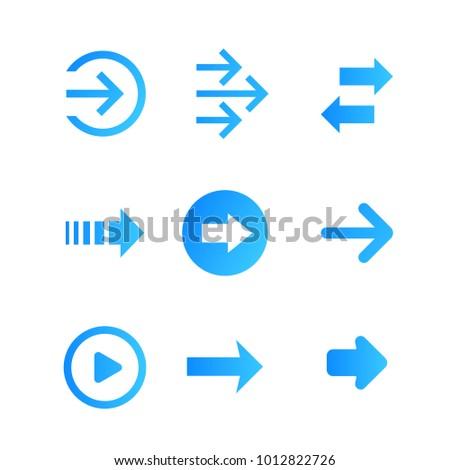 arrows vector set, blue on white #1012822726