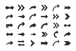 Arrows vector. Set flat different arrows isolated on white background.