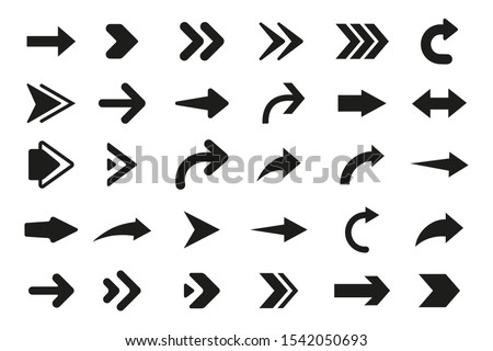Arrows vector. Set flat different arrows isolated on white background