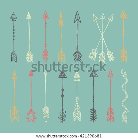 Arrows vector tribal boho style design elements. Hand drawn arrows and feather ethnic set