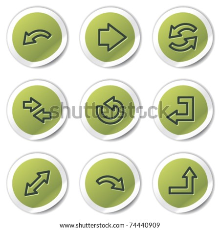 Arrows web icons set 1, green circle stickers