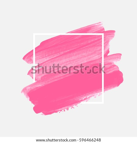 Art abstract background brush paint acrylic texture design poster illustration vector over square frame. Perfect watercolor design for beauty headline, logo and sale banner.