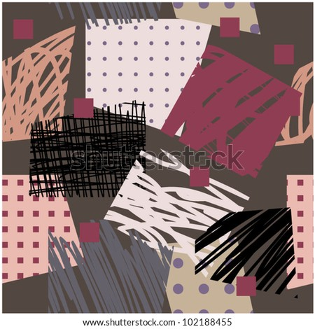 art abstract geometric forms background in pink, brown, black, grey and purple colors; seamless pattern