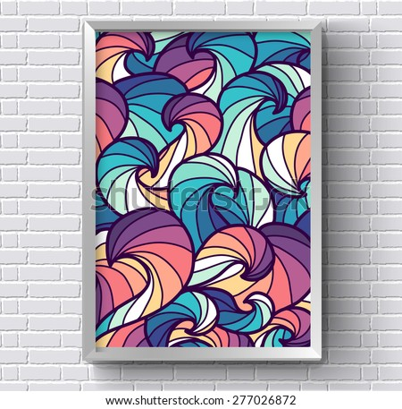 art abstract painting picture with rainbow colorful colors on white brick wall background. Template design for web and mobile. Vector vintage illustration  concept