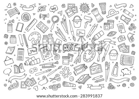 Art and craft hand drawn vector symbols and objects stock photo