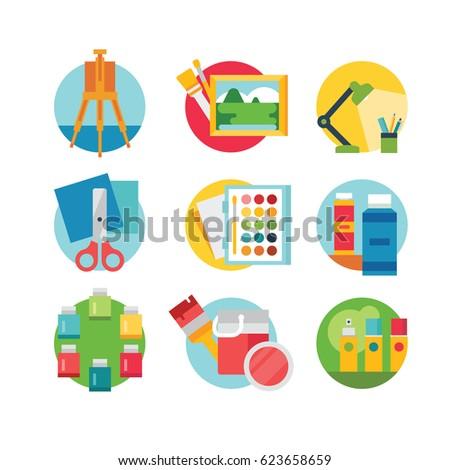 Art and craft icons set, eps 8 no transparencies