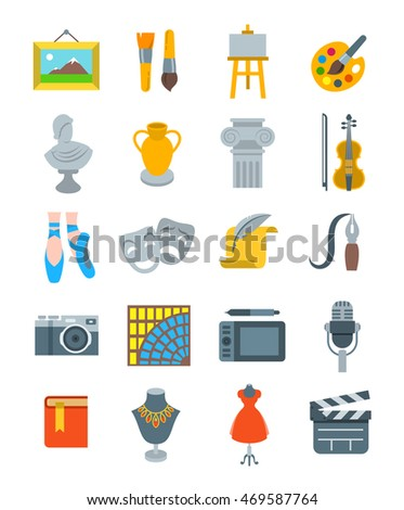 Art and crafts flat vector icons set. Colorful symbols of painting, architecture, sculpture, writing, music, ballet, theater, cinema, calligraphy, photography, pottery, jewelry and  tailoring