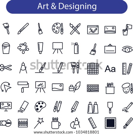 art and design icons set, Graphic design, creative package, stationary, software and more, thin line icons set, vector illustration