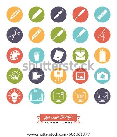 art and design round color icon