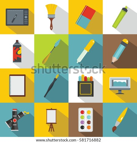 Art and drawing tools set. Flat illustration of 16 art and drawing tools vector icons for web design