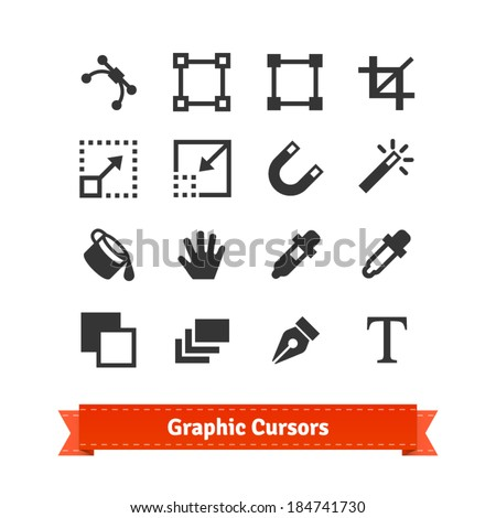 Art and graphic designer cursors icon set. EPS10 vector.
