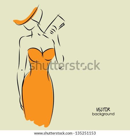 art background with beautiful young woman in party dress with clutch bag, sketch vector