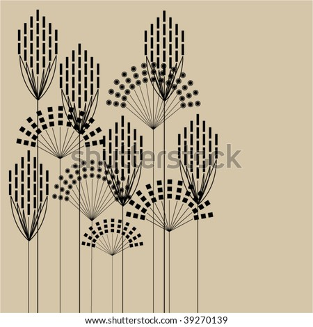 art black graphic stylized floral vector background with space for text