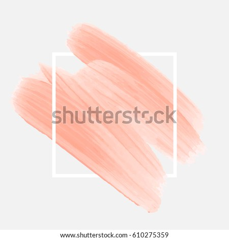 Art brush painted abstract background acrylic design illustration vector over square frame. Perfect watercolor design for headline, logo and sale banner.
