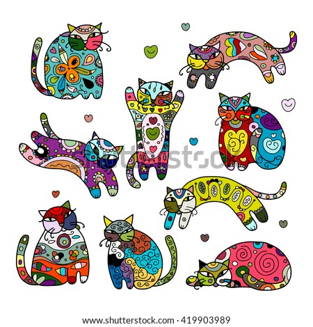 art cats with floral ornament