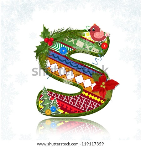 Art Christmas letter handmade - stock vector