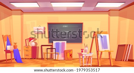 Art classroom, empty artist studio interior with blackboard and stuff canvas on easel, paint brushes, wooden stool, composition of plaster shapes and frames for pictures, Cartoon vector illustration