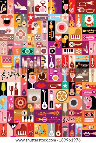 art collage  musical vector