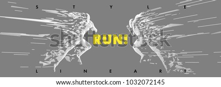 Art concept of a running man. Vector drawn by lines. Minimal cover design. Creative line-art. Vector template brochures, flyers, presentations, logo, print, leaflet, banners.