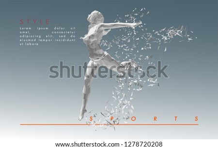Art concept of a running woman. Vector drawn by color polygons. Lowpoy cover design. Creative fitness art. Vector template brochures, flyers, presentations, logo, print, leaflet, banners.