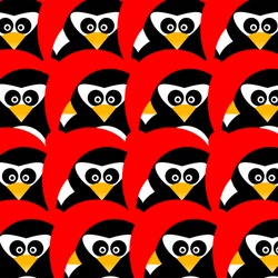 Art creative colorful new year winter holiday wallpaper vector illustration of many small penguins in christmas red hat on green seamless background