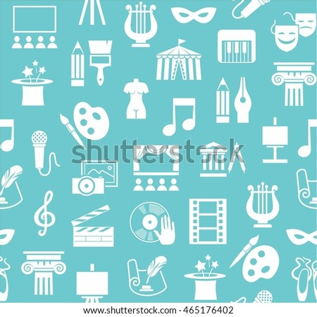 Art & culture, background, seamless, green and blue. Vector background with images of objects of culture, leisure and entertainment. White flat icons on a colored background.