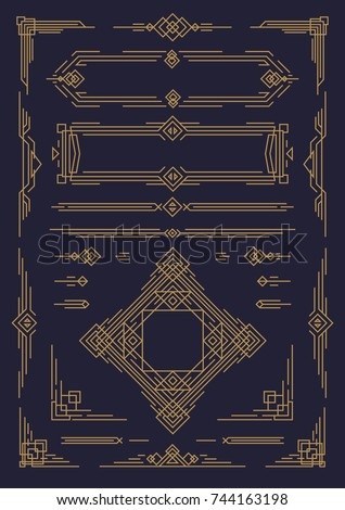 Art deco and arabic line design elements gold color isolated on black background for greeting card, menu, pattern, textile, decoration wedding invitation, poster, promotion, web. Vector Illustration