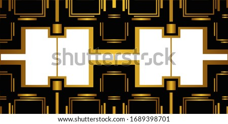 Art deco back and gold color pattern