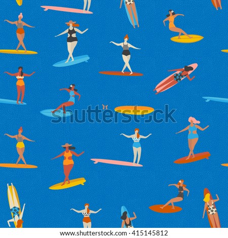 art deco beach surfing poster