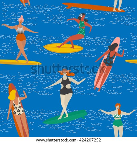 art deco beach surfing poster