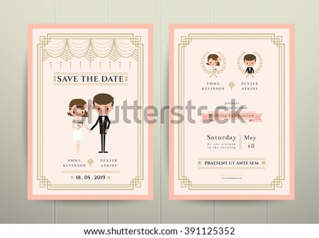 Art Deco Cartoon Couple Wedding Invitation Card on Wood Background