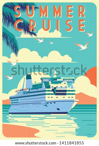 Art Deco cruise ship vector illustration. Passenger liner in ocean. Illustration of vacation and cruise. Handmade drawing vector illustration.