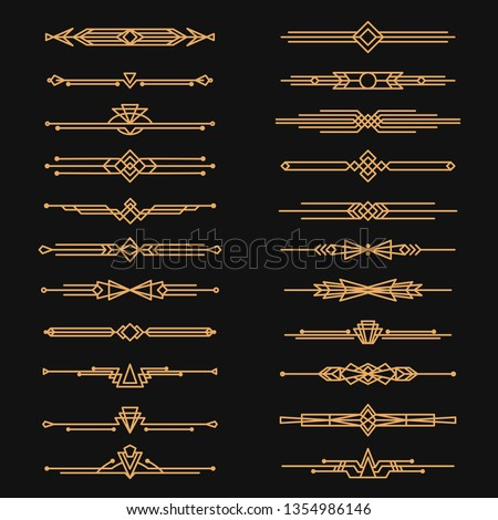 Art deco dividers and decorative golden headers. Victorian book and interior ornament. Vector flat style cartoon art deco illustration on black background
