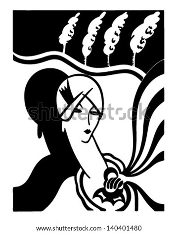 Art Deco Fashion Model - Retro Clip Art Illustration