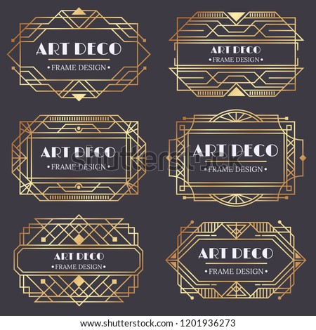 Art deco frame. Antique golden label, luxury gold business card letter title and vintage ornaments frames poster old classic insignia logo design isolated vector elements set