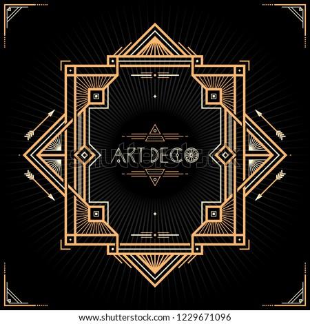 Art Deco frame. Classic vintage wedding invitation template. 1920s border background.