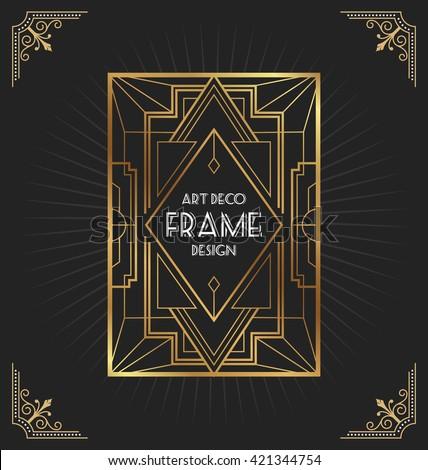 Art deco frame design for your design such as invitation, print, banner, poster. Vector illustration