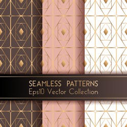 Art deco geometric seamless patterns set vector design with rhombus shapes and thin gold lines grid. Chic fashion textile prints. Gold rose pink white brown art deco seamless patterns collection.